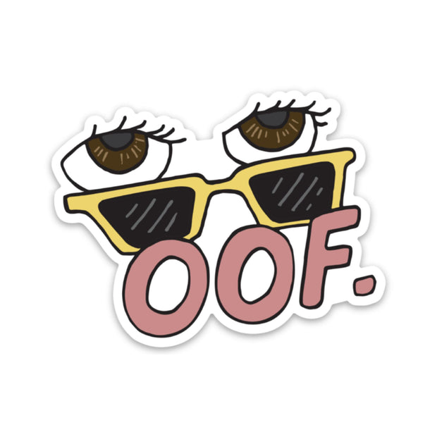 oof - Yellow Sunglasses Sticker 1