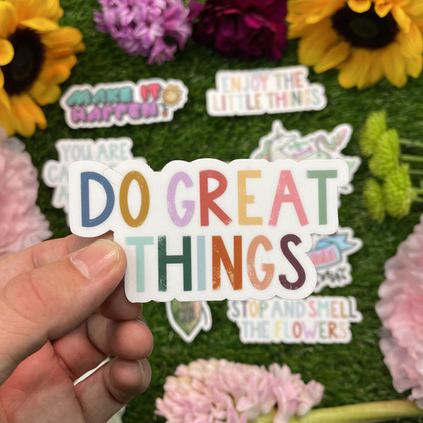 Do Great Things Multicolor Lettering Sticker