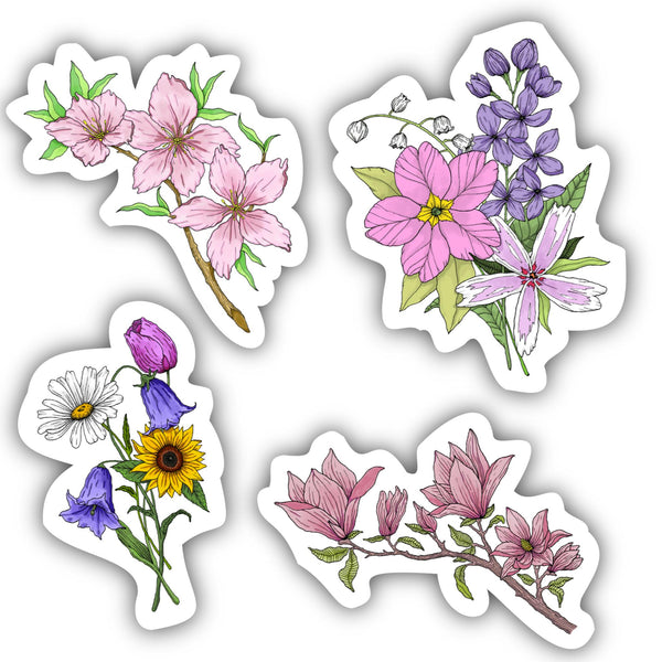 Floral Sticker 4 Pack