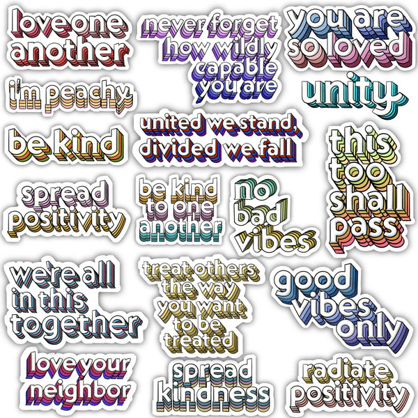 Positivity Lettering Sticker 17 Pack