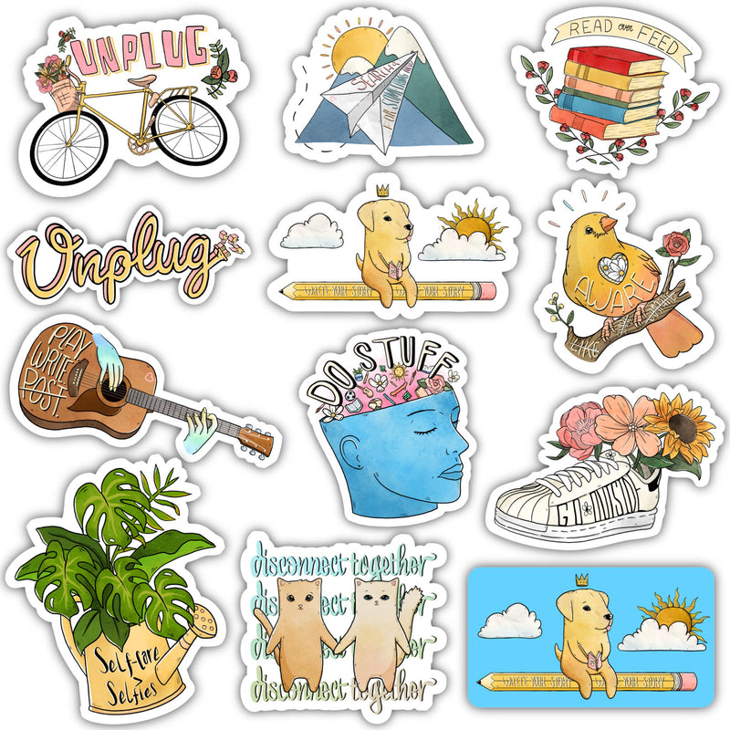 Unplug From Social Media Sticker 12 Pack