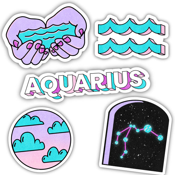 Aquarius Zodiac Sticker 5 Pack