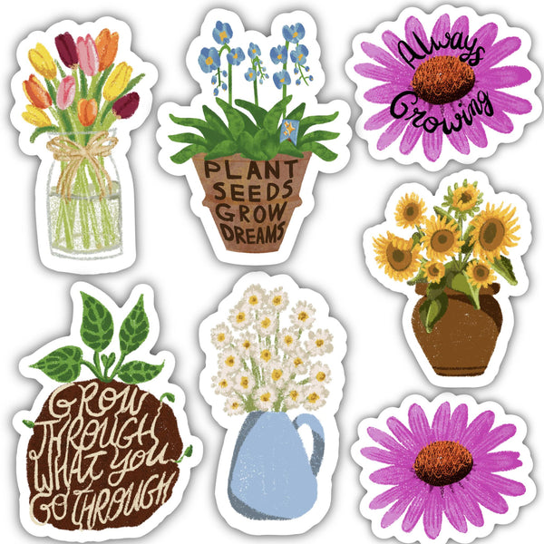 Assorted Flowers Sticker 7 Pack