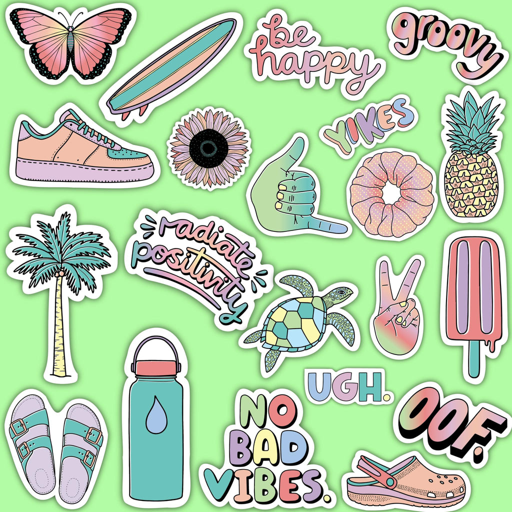 "Multi Color Aesthetic Sticker 21 Pack LARGE 3"" x 3"""