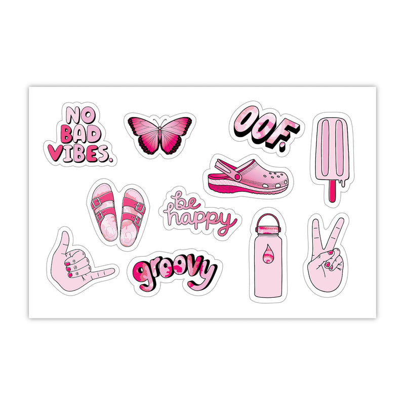 "Sheet of Mini Stickers - Pink Aesthetic Stickers - SMALL miniature 1"" x 1"" Water Bottle Stickers - VSCO Stickers - Phone Case Stickers - Laptop Stickers - 23 Designs"