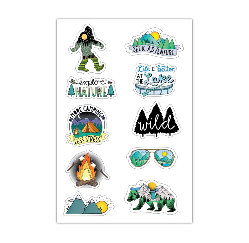 Sheet of Mini Stickers - Nature - 10 Designs