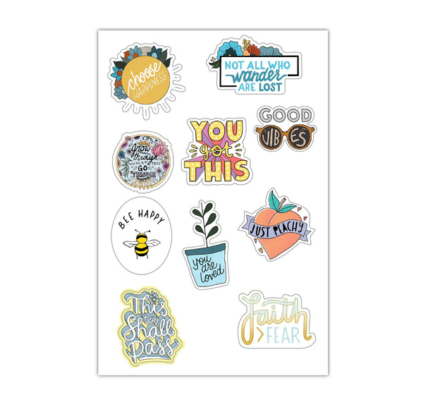 Sheet of Mini Stickers - Positivity - 10 Designs