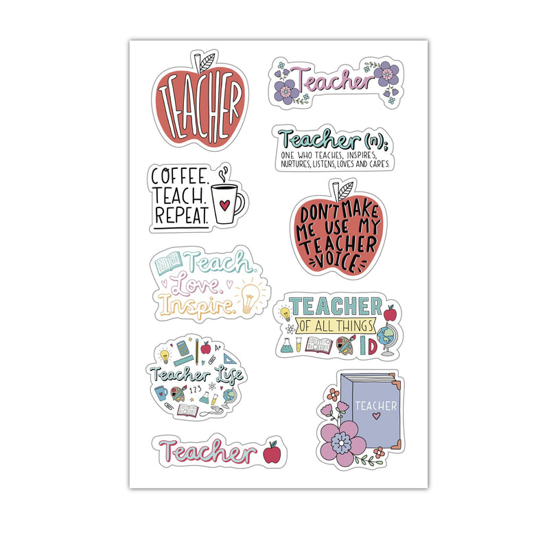 Sheet of Mini Stickers - Teacher - 10 Designs