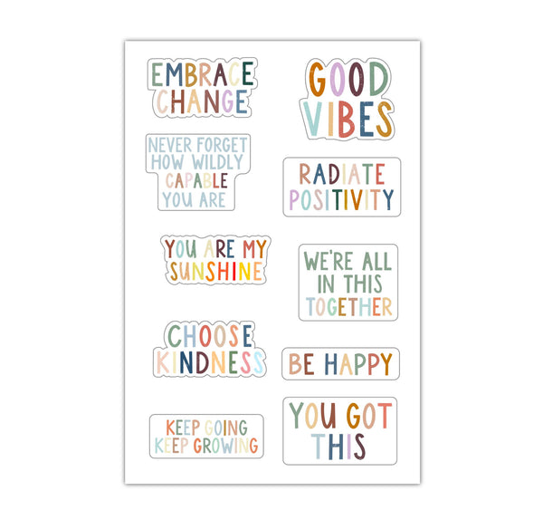 Sheet of Mini Stickers - Positivity Lettering - 10 Designs
