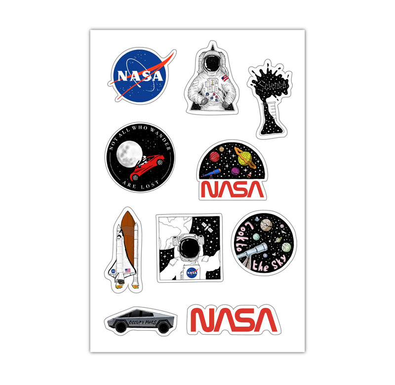 Sheet of Mini Stickers - Space and NASA - 10 Designs
