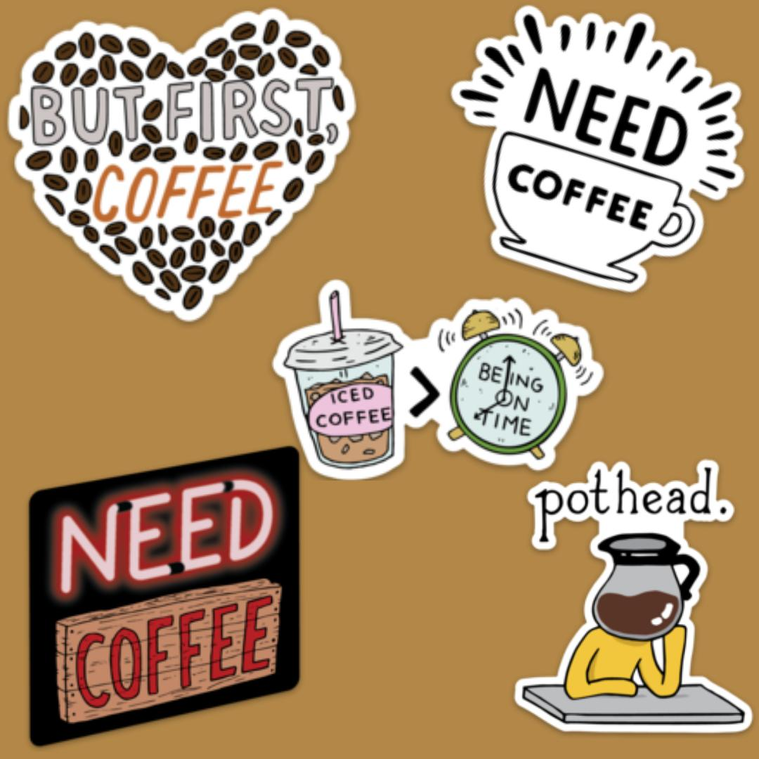 Coffee Lovers Sticker Pack - 5 Stickers