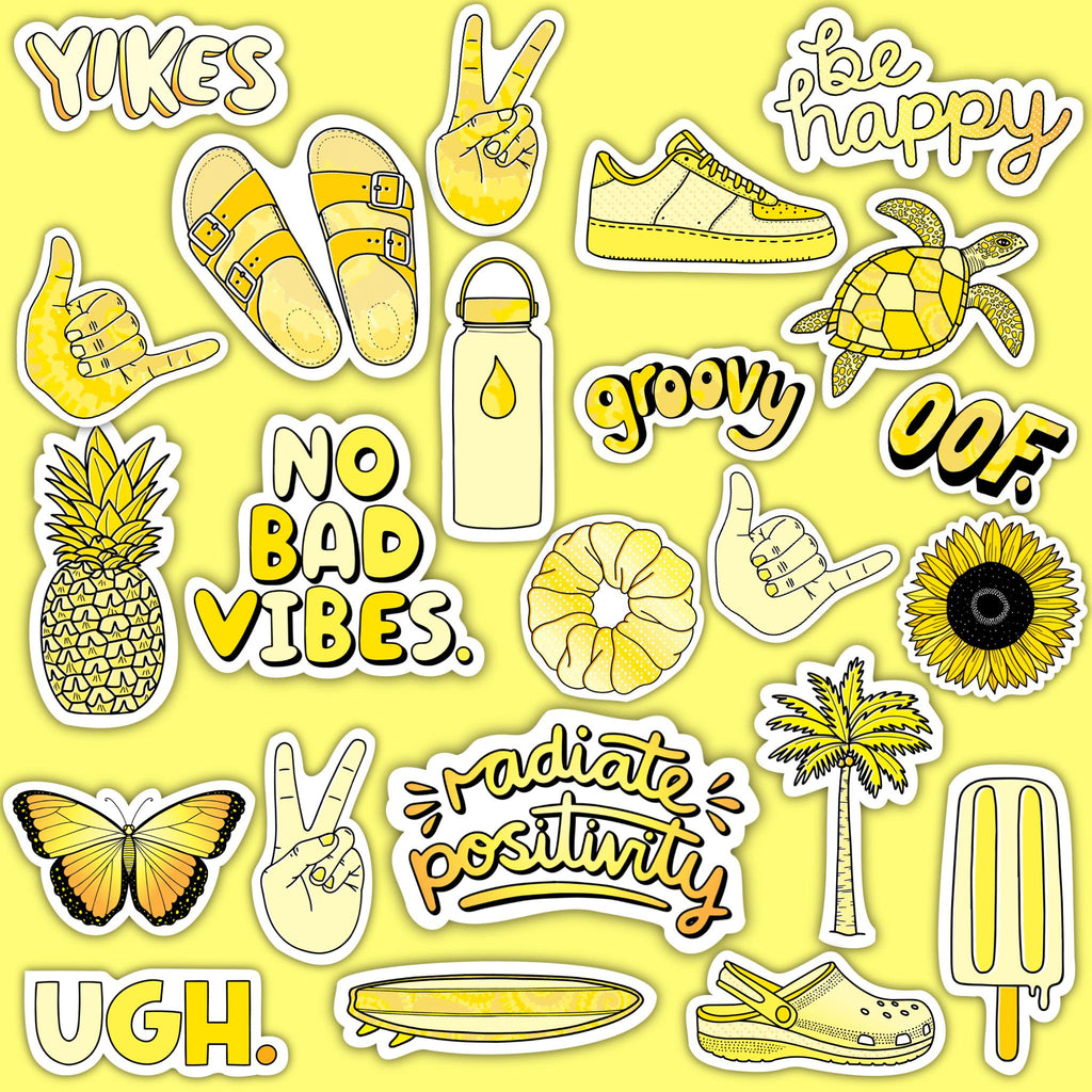 "Yellow Aesthetic Sticker 23 Pack LARGE 3"" x 3"""