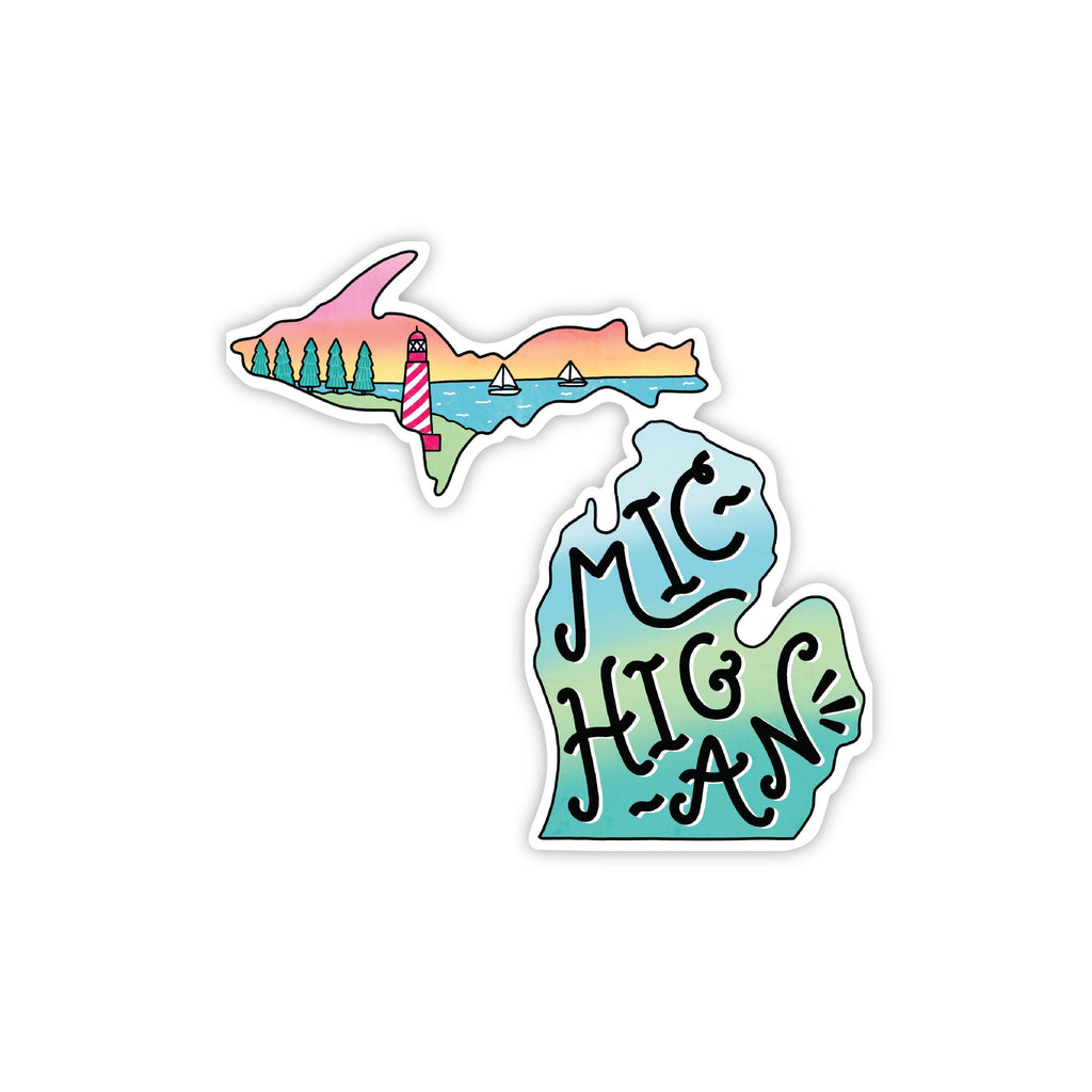 michigan lighthouse sticker