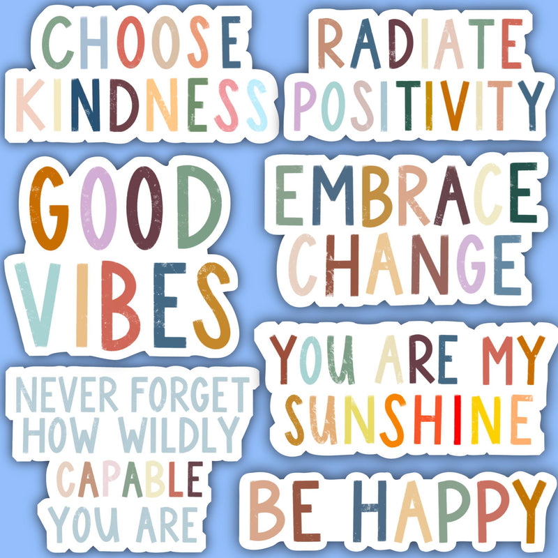 Positivity Lettering Sticker 7 Pack