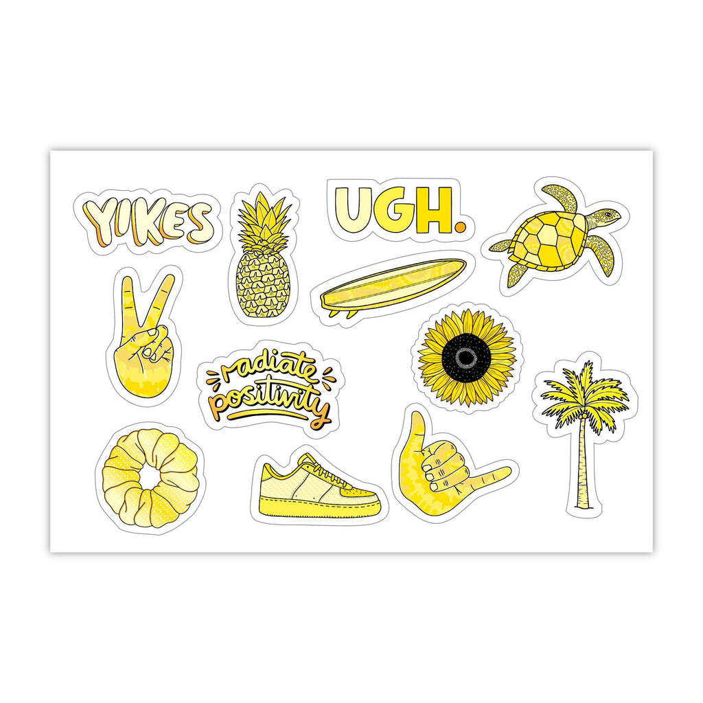 "Yellow Aesthetic Stickers Mini 23 Pack SMALL 1"" x 1"" Water Bottle Stickers - VSCO Stickers - Phone Case Stickers - Laptop Stickers"