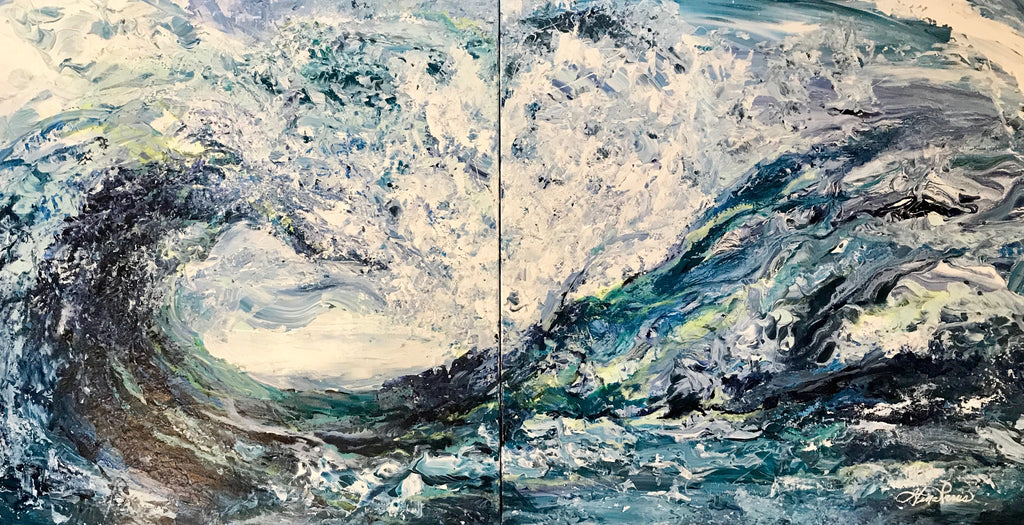 "Waves of Love: 2 Panels = 24"" x 48"" inches"