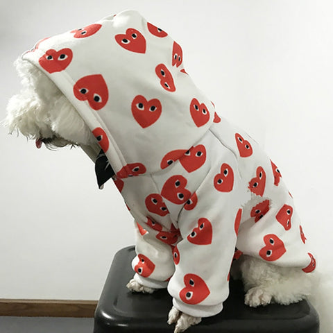Autumn and winter unique love print pet hoodie