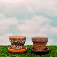 Load image into Gallery viewer, Handpainted Terracotta Pots with distressed motif with dots