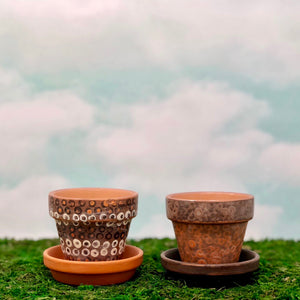 Handpainted Terracotta Pots with distressed motif with dots