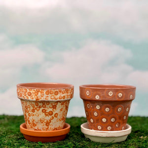 Handpainted Afrocentric Terracotta Pots with dots and circles