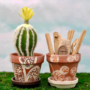 Handpainted Afrocentric Terracotta Pots with tribal design