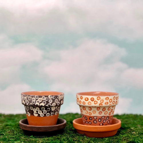 Handpainted Afrocentric Mini Terracotta Pots