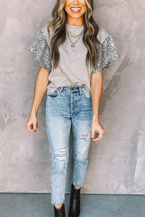 Try to Keep Up Sequin Top