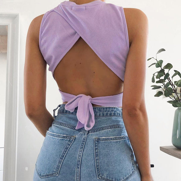 Backless Tie Back Crop Top - UnikWe Boutique