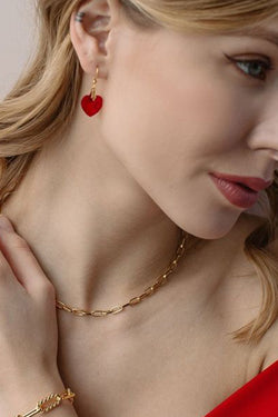 Love this Heart Red Earrings - UnikWe Boutique
