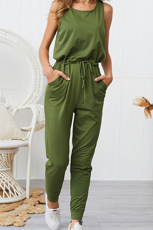 Feeling Myself Pocketed Sleeveless Jumpsuit