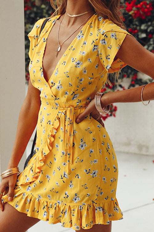 Days of Sunlight Ruffle Floral Dress - UnikWe Boutique