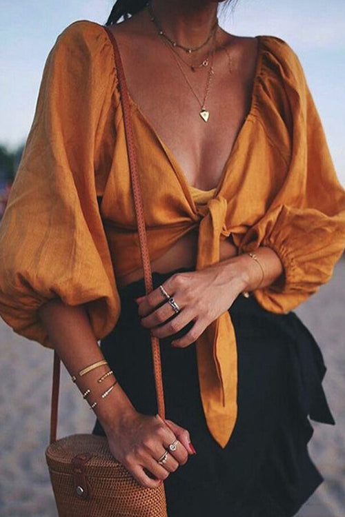 In the Breeze Puff Sleeve Crop Top