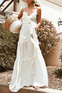 Sweet Style Dotted Maxi Dress