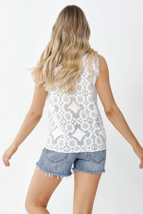 Lace Up Sleeveless Top