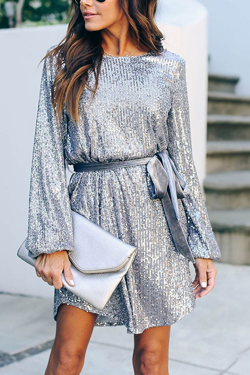 Let's Shinning Puff Sleeve Sequin Dress - UnikWe Boutique