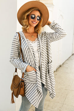 Suede with Love Stripe Irregular Cardigan