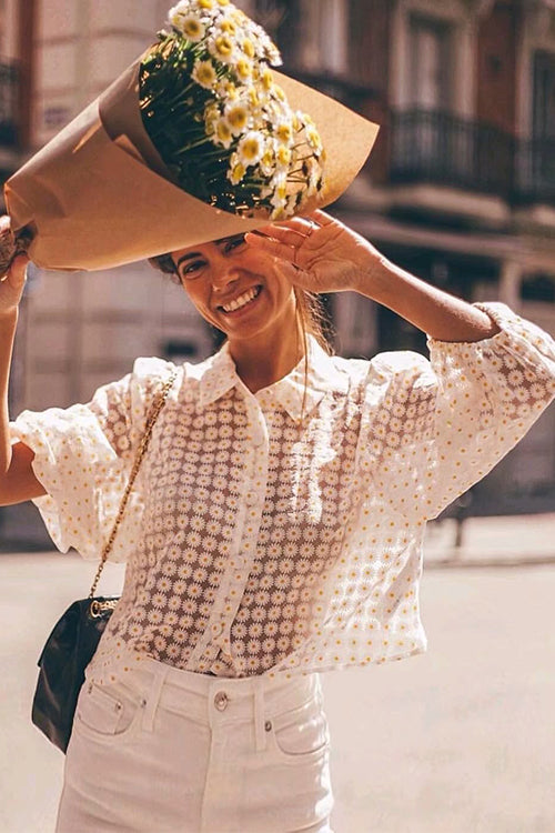 Floral Season See-through Puff Sleeve Shirt