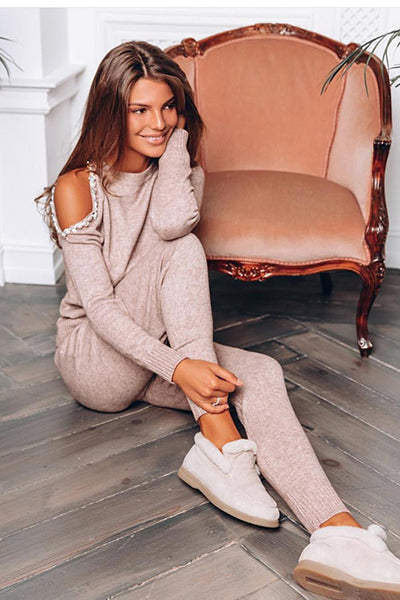 Knit Cold Shoulder Sweater Suit