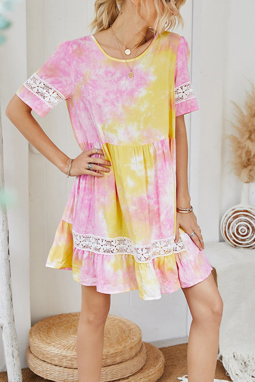 Comfy Summer Tie Tye Mini Dress