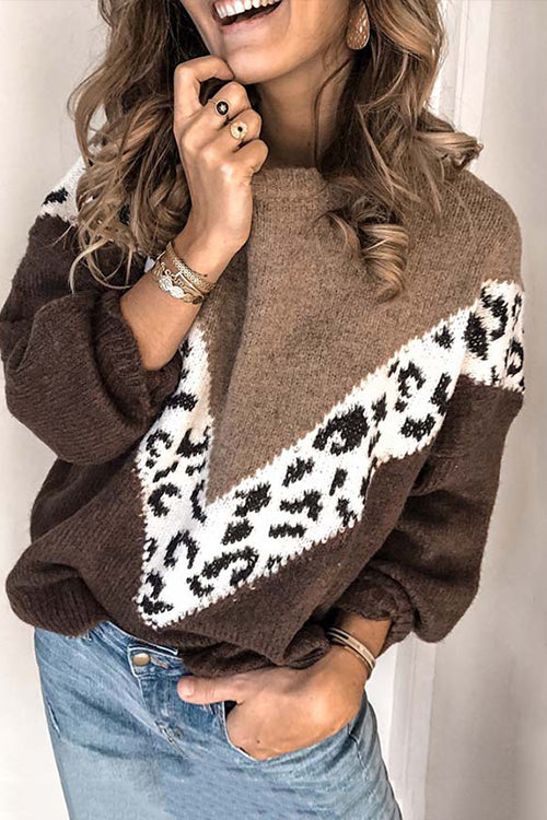 Leopard Print Round Neck Patchwork Sweater - UnikWe Boutique