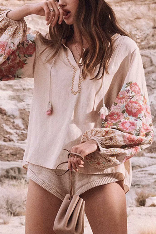 Key to Tassels Embroidery Blouse