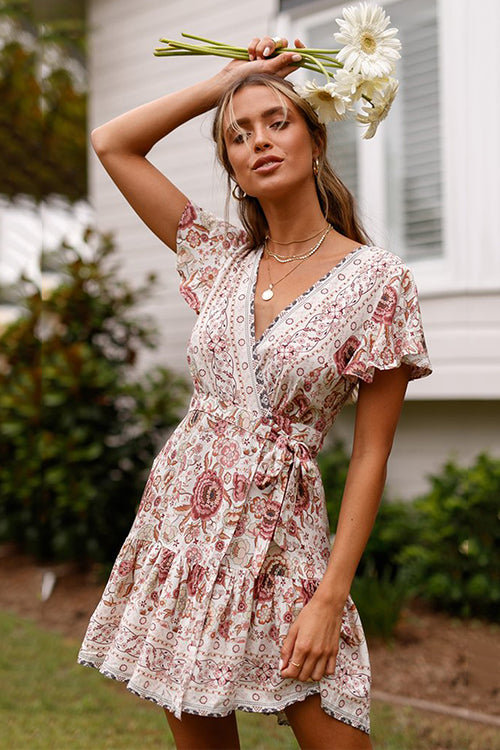 Boho Vibes Tie Waist Mini Dress