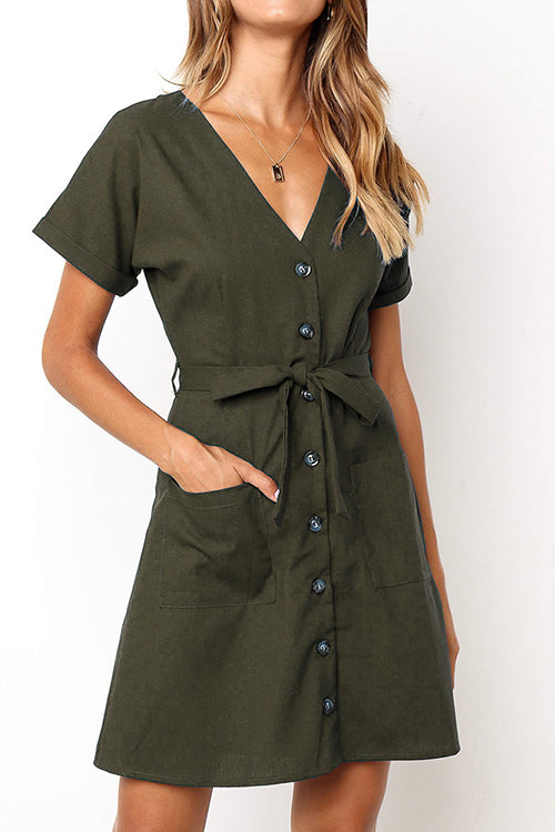 Easygoing Tie Waist Mini Dress