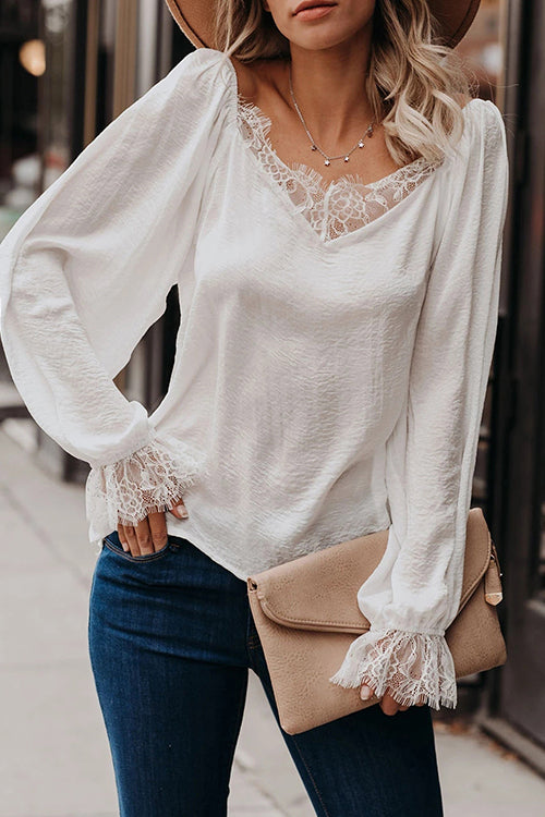 Lace Up V-neck Puff Sleeve Top
