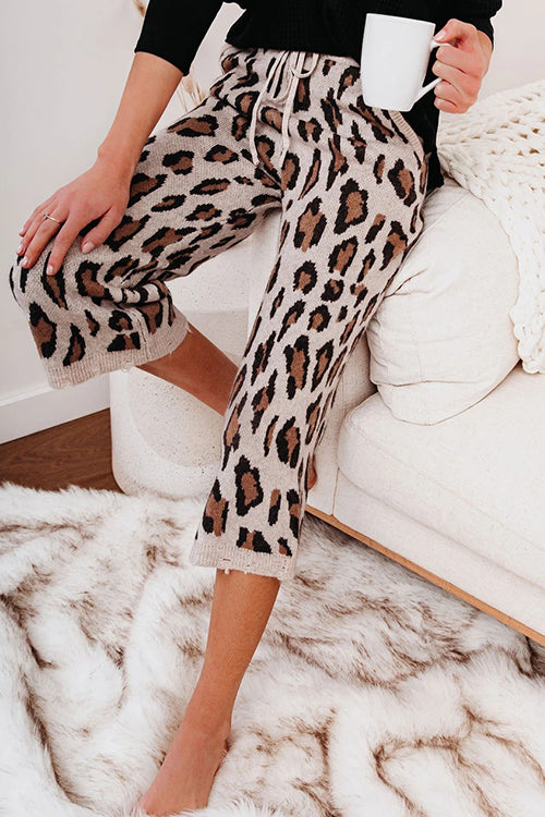 Cozy Season Leopard Print Knit Pants