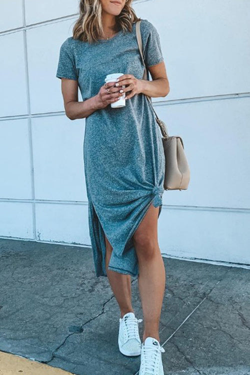 Casual Knot Grey Midi Dress