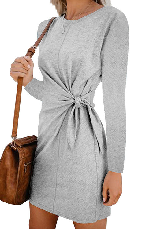 Like Minded Long Sleeve Knot Mini Dress - UnikWe Boutique