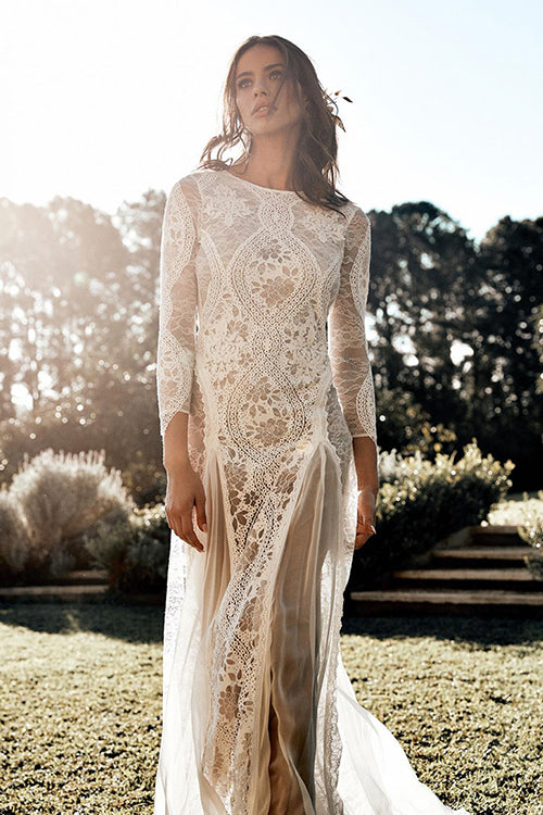 True Love White Lace Backless Maxi Dress
