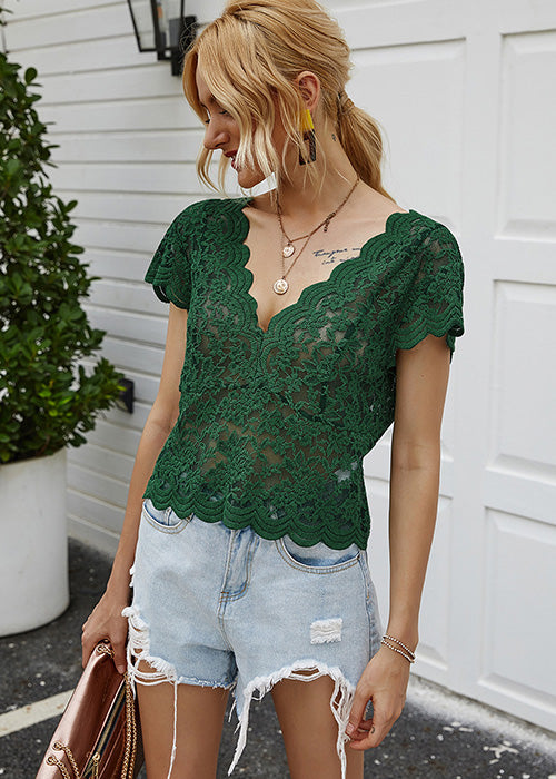 Lace Up Short Sleeve Top - UnikWe Boutique