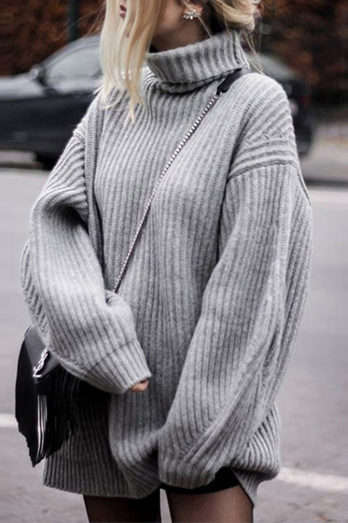 Oversize Grey Turtle Neck Sweater - UnikWe Boutique